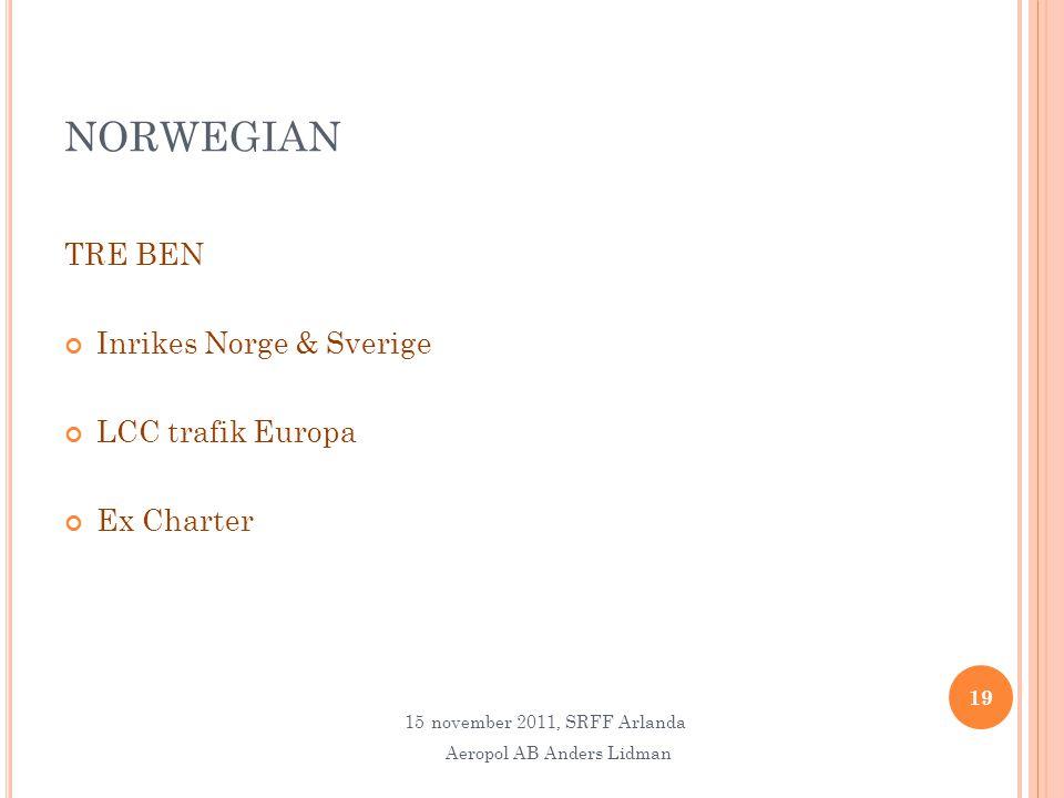 NORWEGIAN TRE BEN Inrikes Norge & Sverige LCC trafik Europa Ex Charter 19 15november 2011, SRFF Arlanda Aeropol AB Anders Lidman