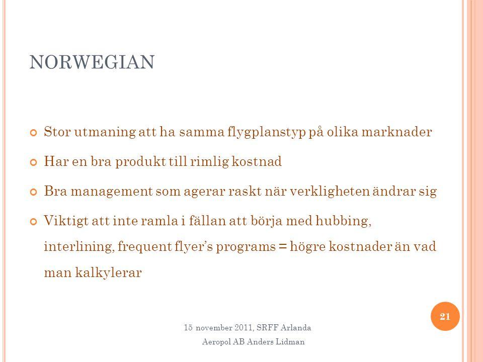 NORWEGIAN Stor utmaning att ha samma flygplanstyp på olika marknader Har en bra produkt till rimlig kostnad Bra management som agerar raskt när verkligheten ändrar sig Viktigt att inte ramla i fällan att börja med hubbing, interlining, frequent flyer's programs = högre kostnader än vad man kalkylerar 21 15november 2011, SRFF Arlanda Aeropol AB Anders Lidman