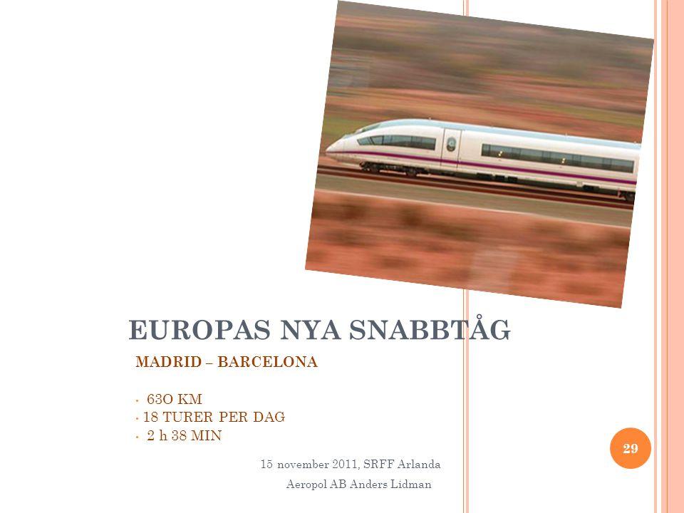 EUROPAS NYA SNABBTÅG MADRID – BARCELONA • 63O KM • 18 TURER PER DAG • 2 h 38 MIN 29 15november 2011, SRFF Arlanda Aeropol AB Anders Lidman