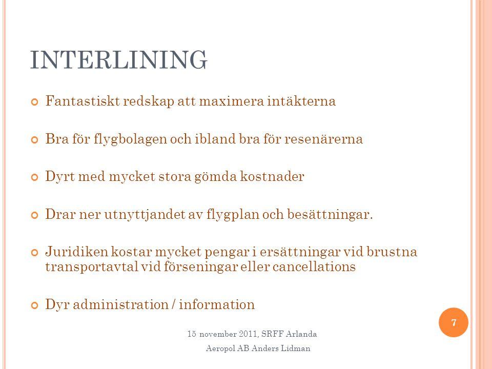 INTERLINING Fantastiskt redskap att maximera intäkterna Bra för flygbolagen och ibland bra för resenärerna Dyrt med mycket stora gömda kostnader Drar ner utnyttjandet av flygplan och besättningar.