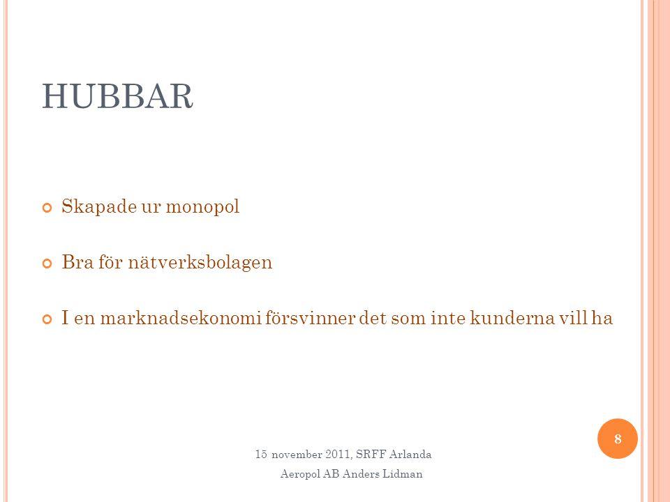 HUBBAR Skapade ur monopol Bra för nätverksbolagen I en marknadsekonomi försvinner det som inte kunderna vill ha 8 15november 2011, SRFF Arlanda Aeropol AB Anders Lidman