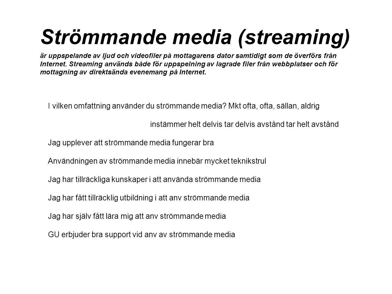 Strömmande media (streaming) är uppspelande av ljud och videofiler på mottagarens dator samtidigt som de överförs från Internet. Streaming används båd