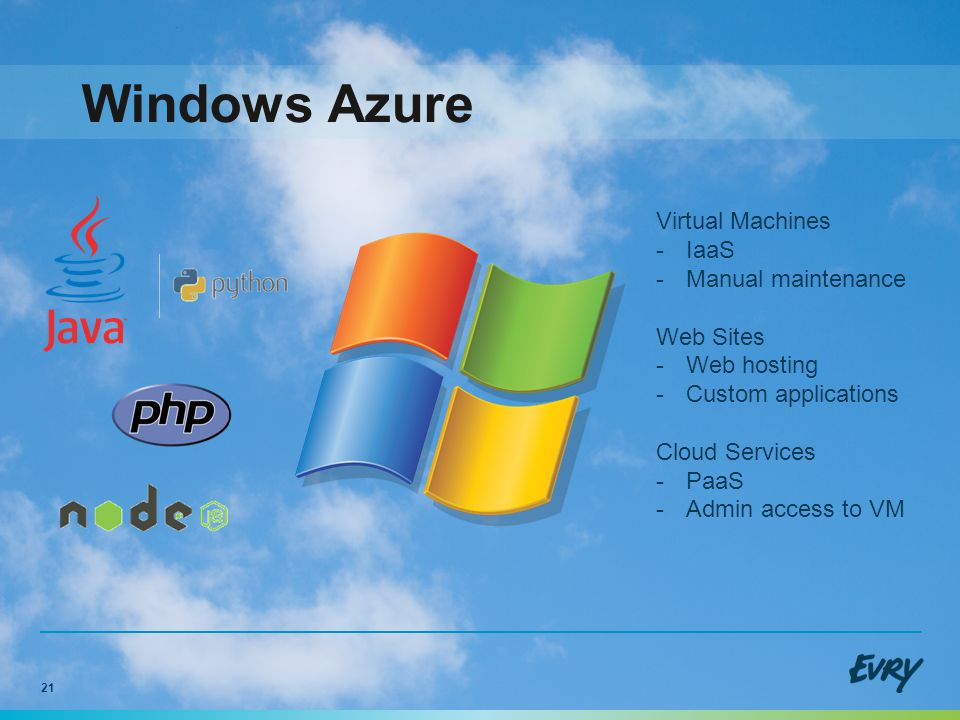 21 Windows Azure Virtual Machines -IaaS -Manual maintenance Web Sites -Web hosting -Custom applications Cloud Services -PaaS -Admin access to VM
