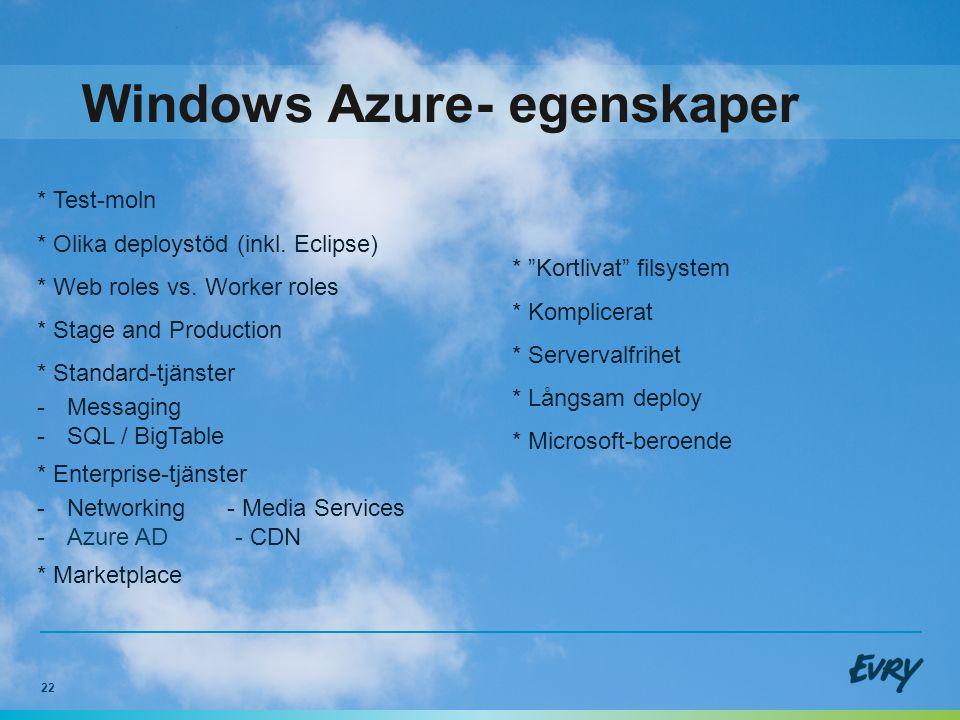 22 Windows Azure- egenskaper * Kortlivat filsystem * Komplicerat * Servervalfrihet * Långsam deploy * Microsoft-beroende * Test-moln * Olika deploystöd (inkl.