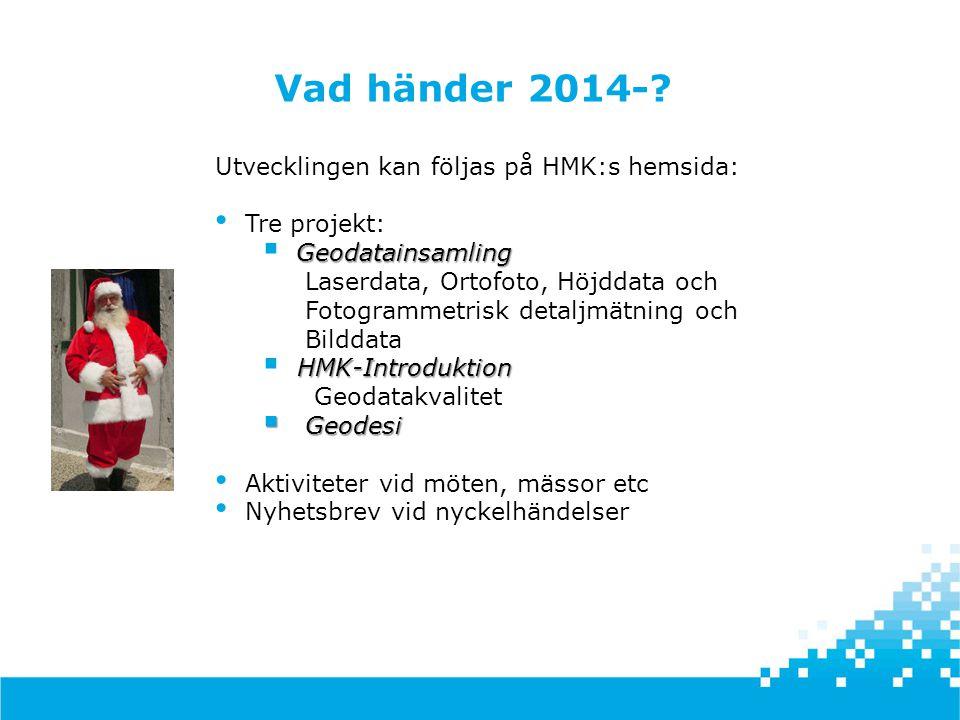  HMK arbetar för enhetlig och standardiserad insamling, kontroll av geodata och kartografi i form av handböcker på internet HMK  Svensk geoprocess arbetar för enhetliga geodata genom att ta fram gemensamma, nationella dataproduktspecifikationer (ISO 19131 med mera) för datautbyte och beskriva hur samverkan avseende insamling, lagring och tillhandahållande ska gå till Svensk geoprocess  Geodatasamverkan arbetar för att göra det enkelt att hitta, förstå och använda geodata, bl.a.