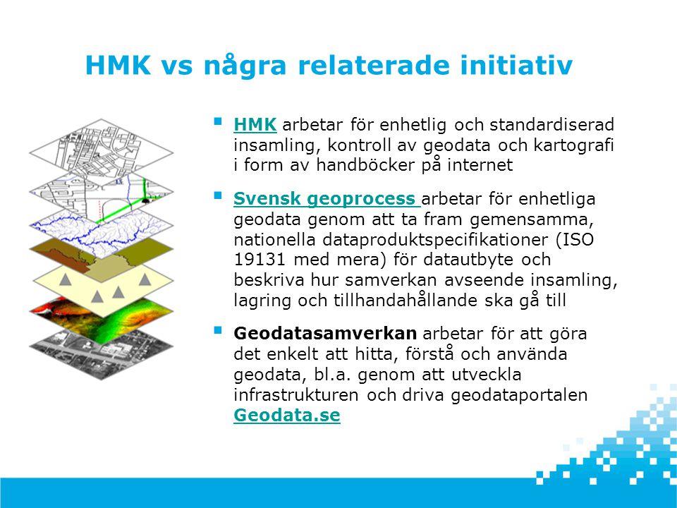  HMK arbetar för enhetlig och standardiserad insamling, kontroll av geodata och kartografi i form av handböcker på internet HMK  Svensk geoprocess a