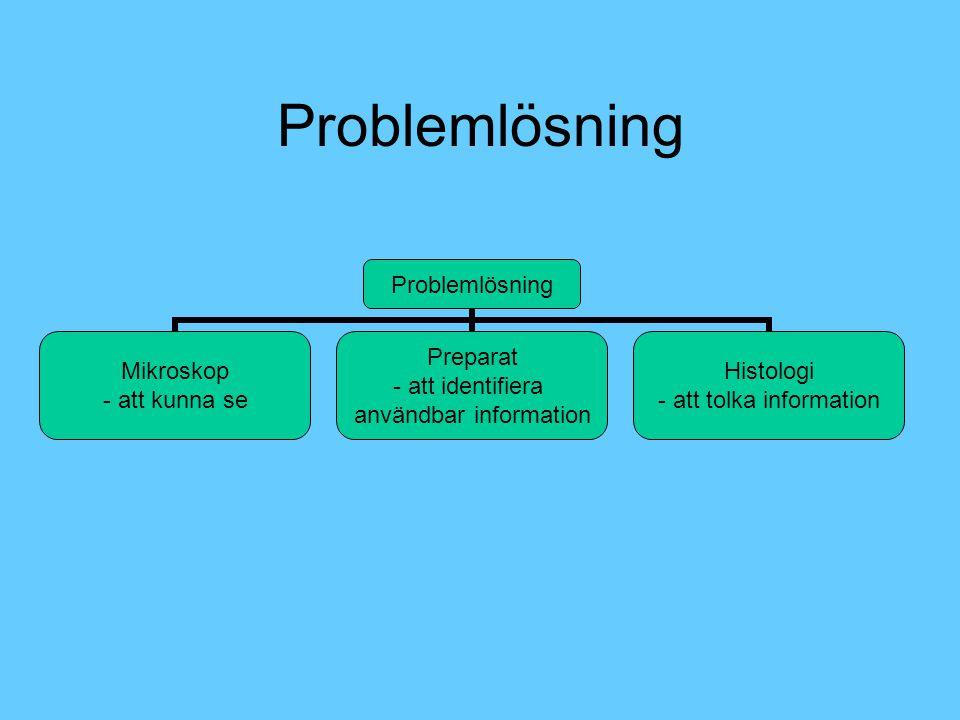 Problemlösning Mikroskop - att kunna se Preparat • att identifiera användbar information Histologi - att tolka information