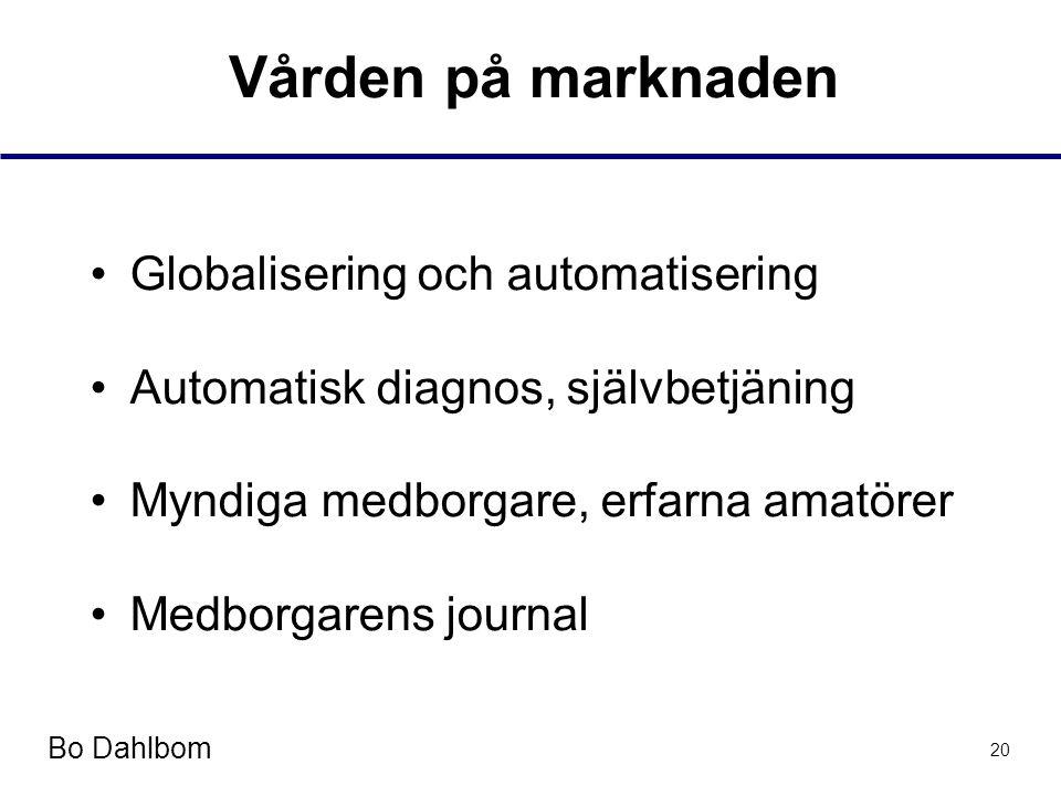 Bo Dahlbom 20 Vården på marknaden •Globalisering och automatisering •Automatisk diagnos, självbetjäning •Myndiga medborgare, erfarna amatörer •Medborgarens journal
