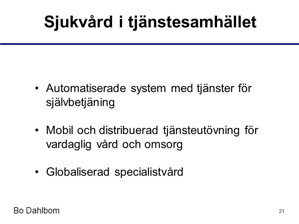 Bo Dahlbom 21 Sjukvård i tjänstesamhället •Automatiserade system med tjänster för självbetjäning •Mobil och distribuerad tjänsteutövning för vardaglig vård och omsorg •Globaliserad specialistvård