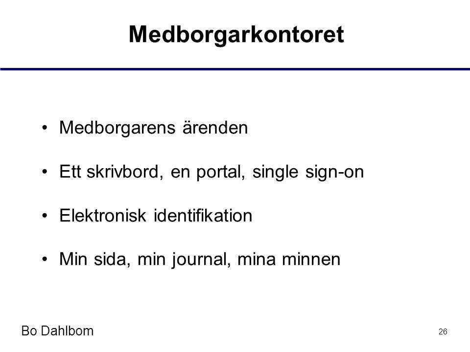 Bo Dahlbom 26 Medborgarkontoret •Medborgarens ärenden •Ett skrivbord, en portal, single sign-on •Elektronisk identifikation •Min sida, min journal, mina minnen