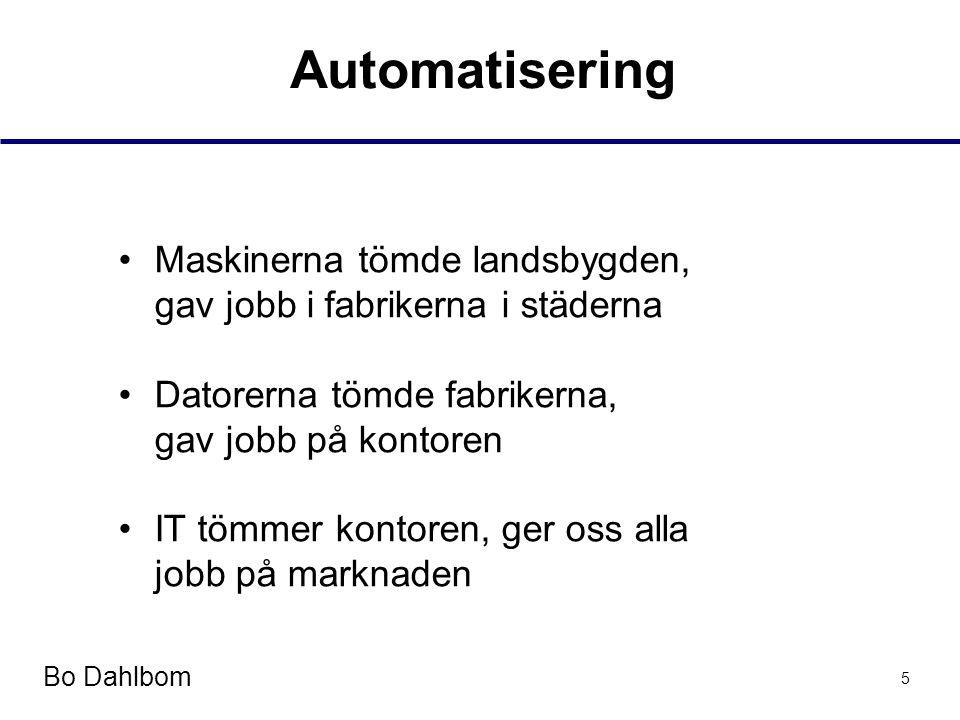 Bo Dahlbom 5 Automatisering •Maskinerna tömde landsbygden, gav jobb i fabrikerna i städerna •Datorerna tömde fabrikerna, gav jobb på kontoren •IT tömmer kontoren, ger oss alla jobb på marknaden
