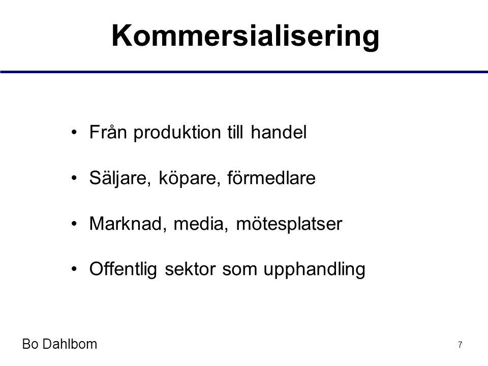 Bo Dahlbom 7 Kommersialisering •Från produktion till handel •Säljare, köpare, förmedlare •Marknad, media, mötesplatser •Offentlig sektor som upphandling