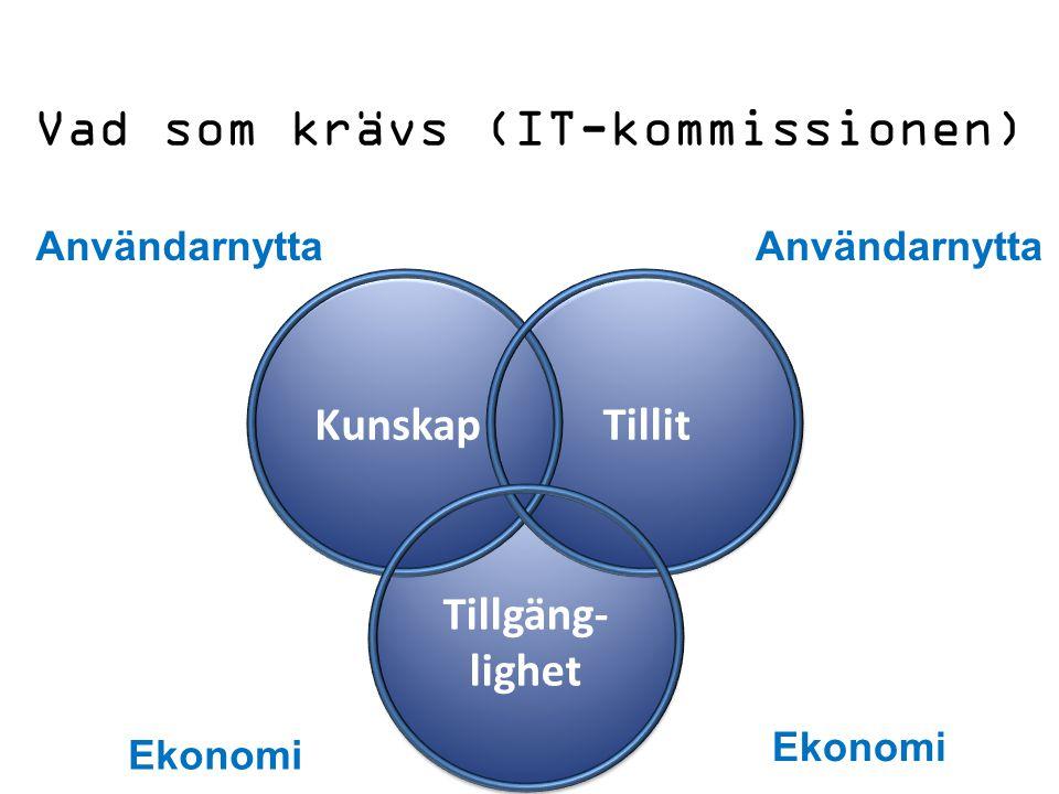 Vad som krävs (IT-kommissionen) Tillgäng- lighet Tillit Kunskap Ekonomi Användarnytta