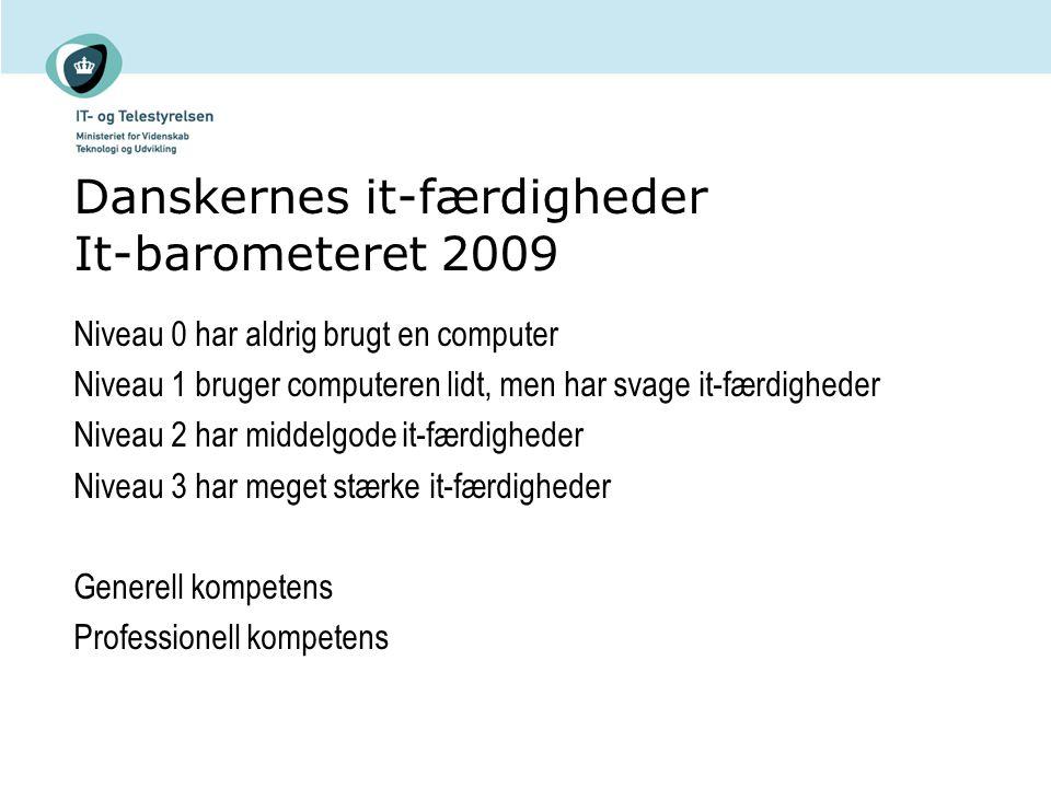 Danskernes it-færdigheder It-barometeret 2009 Niveau 0 har aldrig brugt en computer Niveau 1 bruger computeren lidt, men har svage it-færdigheder Niveau 2 har middelgode it-færdigheder Niveau 3 har meget stærke it-færdigheder Generell kompetens Professionell kompetens