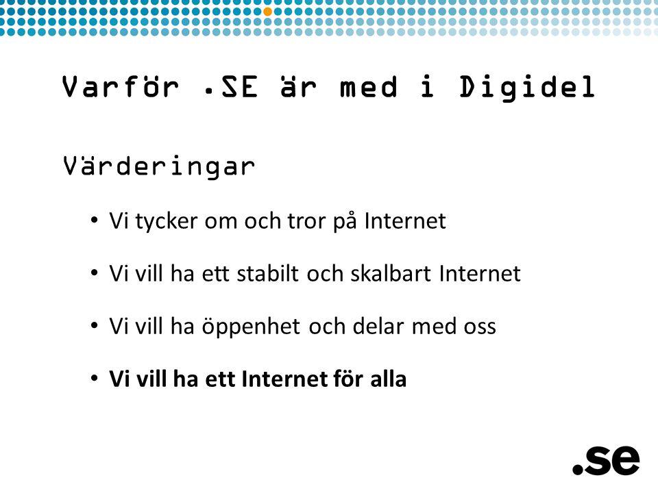 Värderingar • Vi tycker om och tror på Internet • Vi vill ha ett stabilt och skalbart Internet • Vi vill ha öppenhet och delar med oss • Vi vill ha ett Internet för alla Varför.SE är med i Digidel