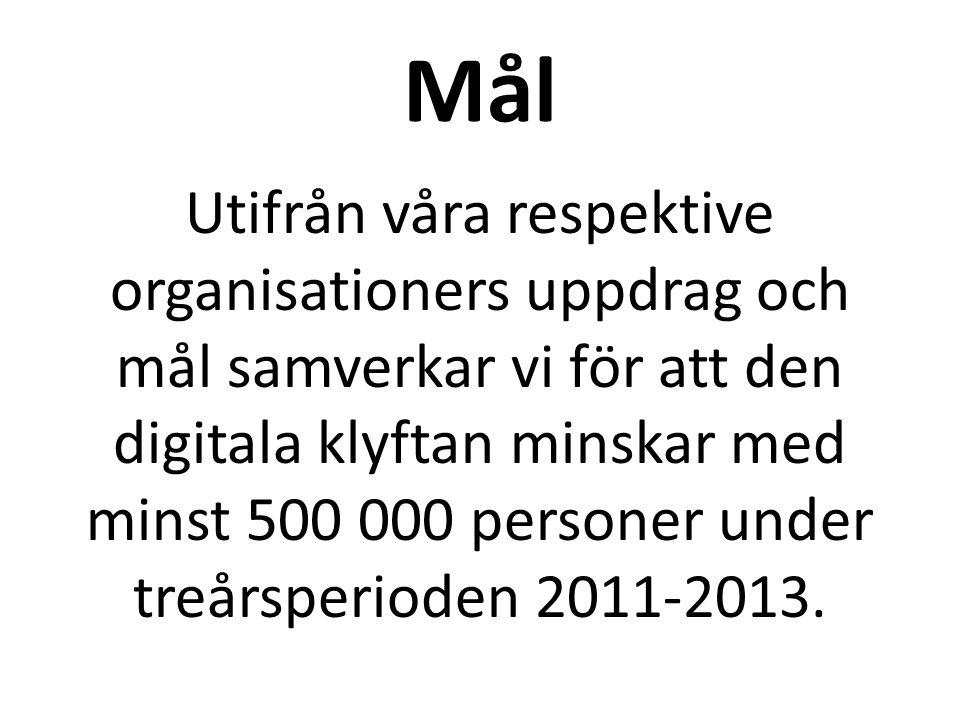 Mål Utifrån våra respektive organisationers uppdrag och mål samverkar vi för att den digitala klyftan minskar med minst 500 000 personer under treårsperioden 2011-2013.