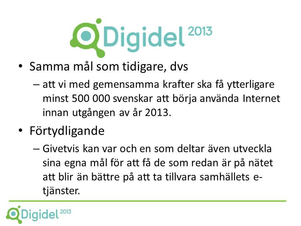 • Samma mål som tidigare, dvs – att vi med gemensamma krafter ska få ytterligare minst 500 000 svenskar att börja använda Internet innan utgången av år 2013.