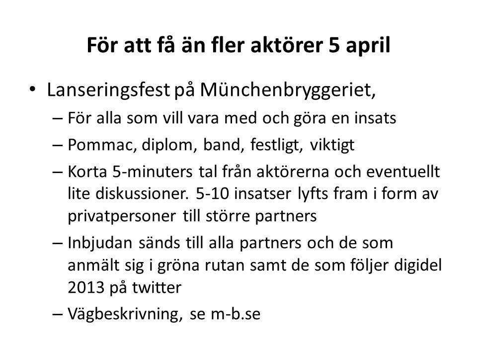 För att få än fler aktörer 5 april • Lanseringsfest på Münchenbryggeriet, – För alla som vill vara med och göra en insats – Pommac, diplom, band, festligt, viktigt – Korta 5-minuters tal från aktörerna och eventuellt lite diskussioner.