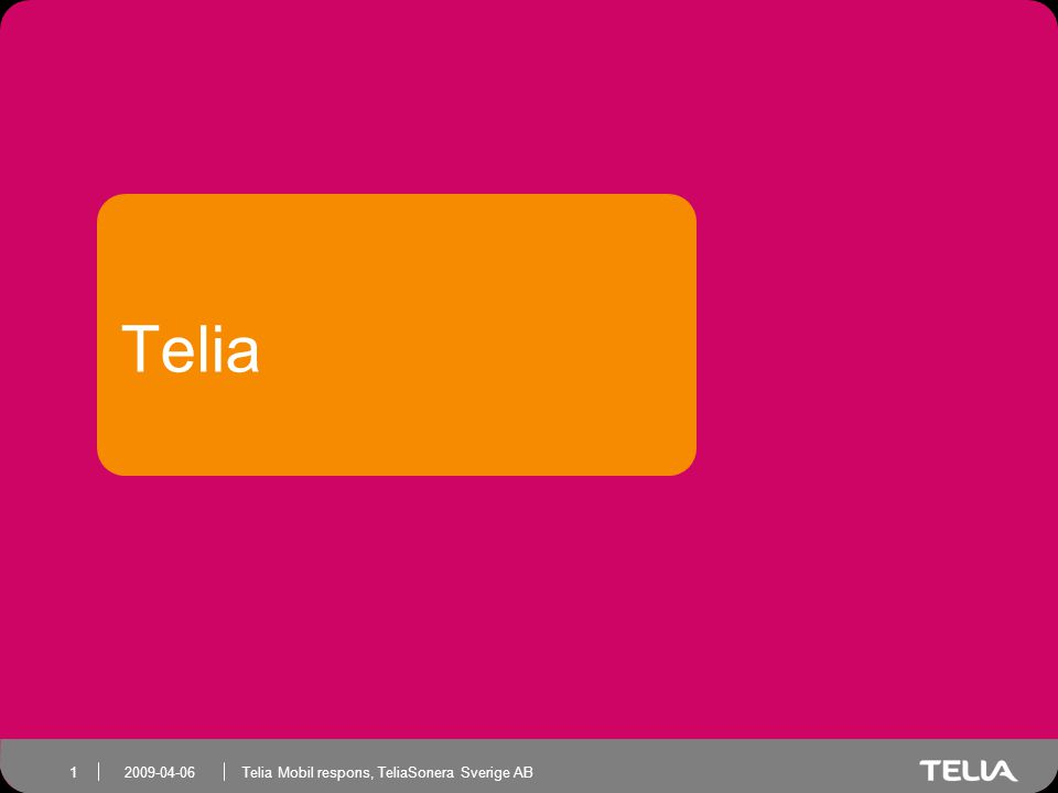 Telia Mobil respons, TeliaSonera Sverige AB 2 Internet i Sverige •85% av befolkningen över 16 år •Instegsålder 4 år Vem •80% använder Internet dagligen •60 procent ansluter vi fler platser När •50% av befolkningen är med i sociala nätverk •97% av befolkningen har bredband Hur
