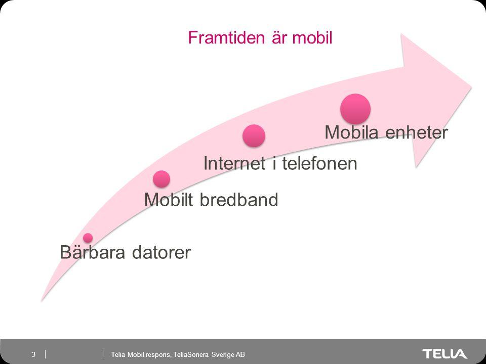 Telia Mobil respons, TeliaSonera Sverige AB 3 Framtiden är mobil Bärbara datorer Mobilt bredband Internet i telefonen Mobila enheter