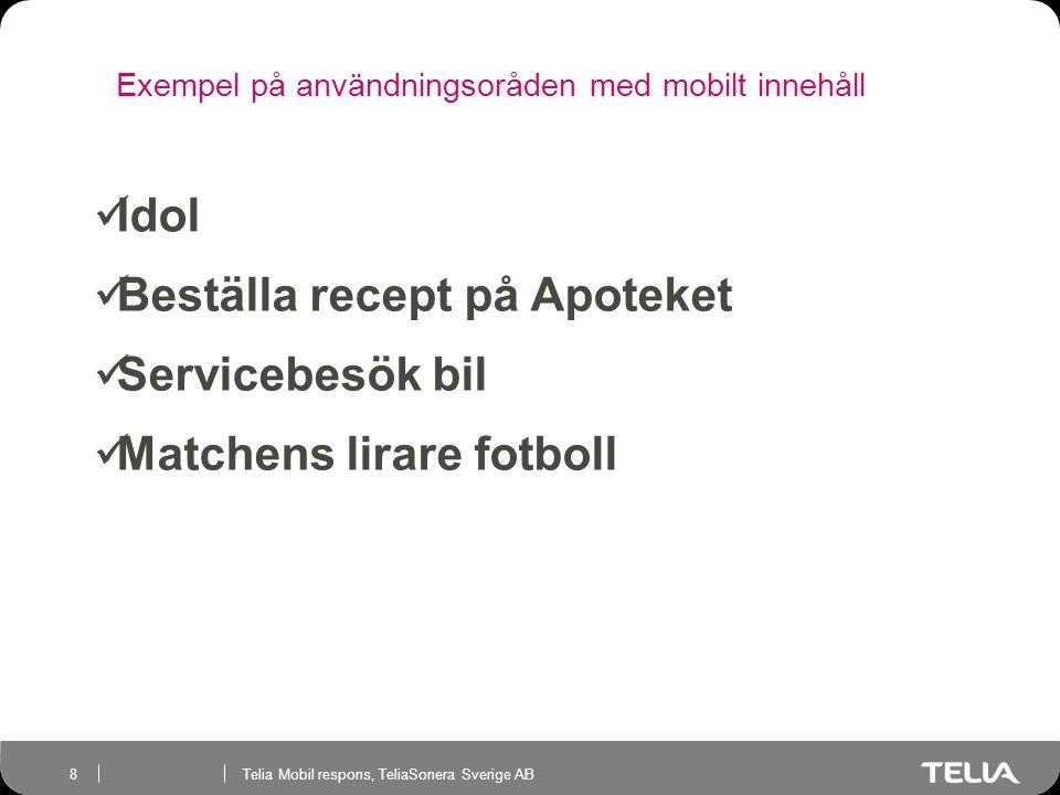 Telia Mobil respons, TeliaSonera Sverige AB 8 Exempel på användningsoråden med mobilt innehåll Telia Mobil respons  Idol  Beställa recept på Apoteket  Servicebesök bil  Matchens lirare fotboll