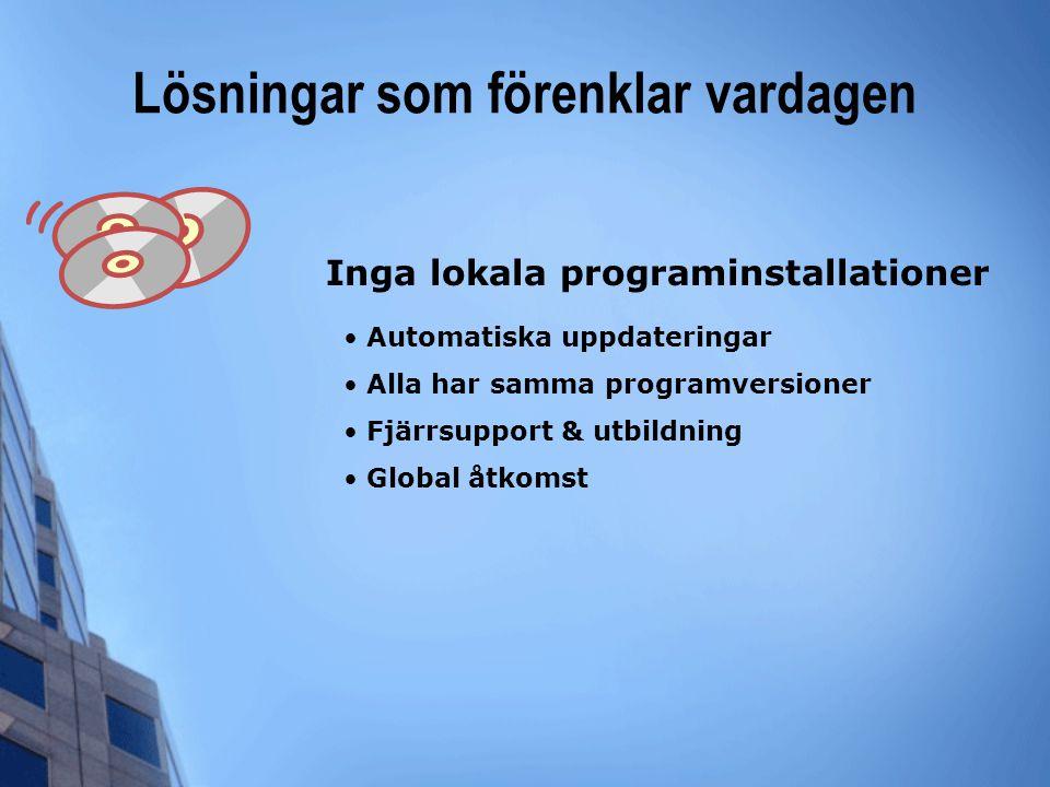 Lösningar som förenklar vardagen • Automatiska uppdateringar • Alla har samma programversioner • Fjärrsupport & utbildning • Global åtkomst Inga lokal