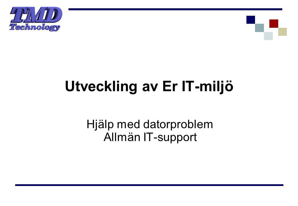 Utveckling av Er IT-miljö Hjälp med datorproblem Allmän IT-support
