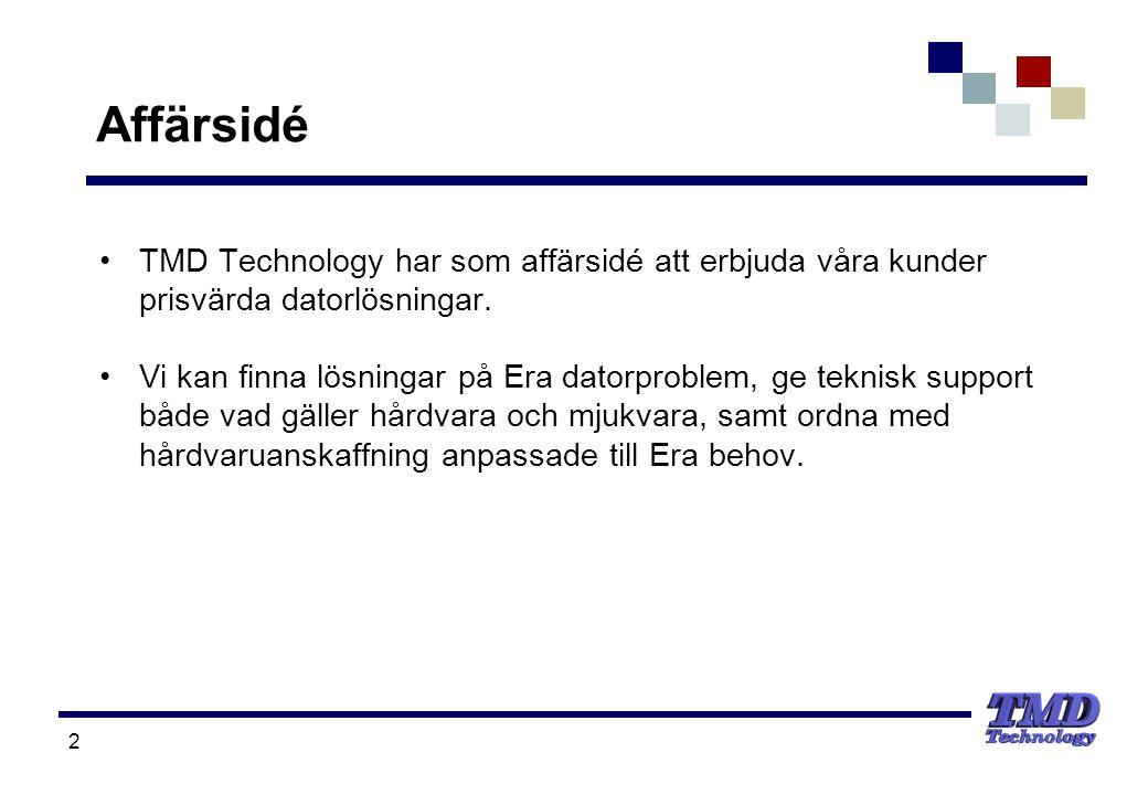 2 Affärsidé •TMD Technology har som affärsidé att erbjuda våra kunder prisvärda datorlösningar. •Vi kan finna lösningar på Era datorproblem, ge teknis