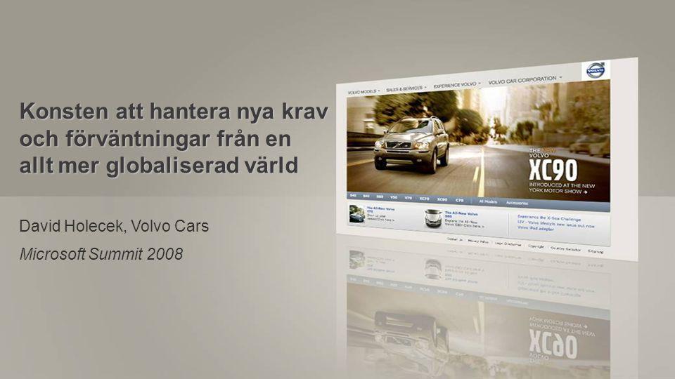 MS Summit 2008, Volvo Cars, David Holecek (DHOLECEK@volvocars.com) Page 1 Issue date: 2008-09-04, Security Class: Konsten att hantera nya krav och för