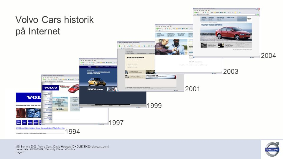 MS Summit 2008, Volvo Cars, David Holecek (DHOLECEK@volvocars.com) Page 7 Issue date: 2008-09-04, Security Class: Volvo Cars historik på Internet 1994 1997 1999 2001 2003 2004