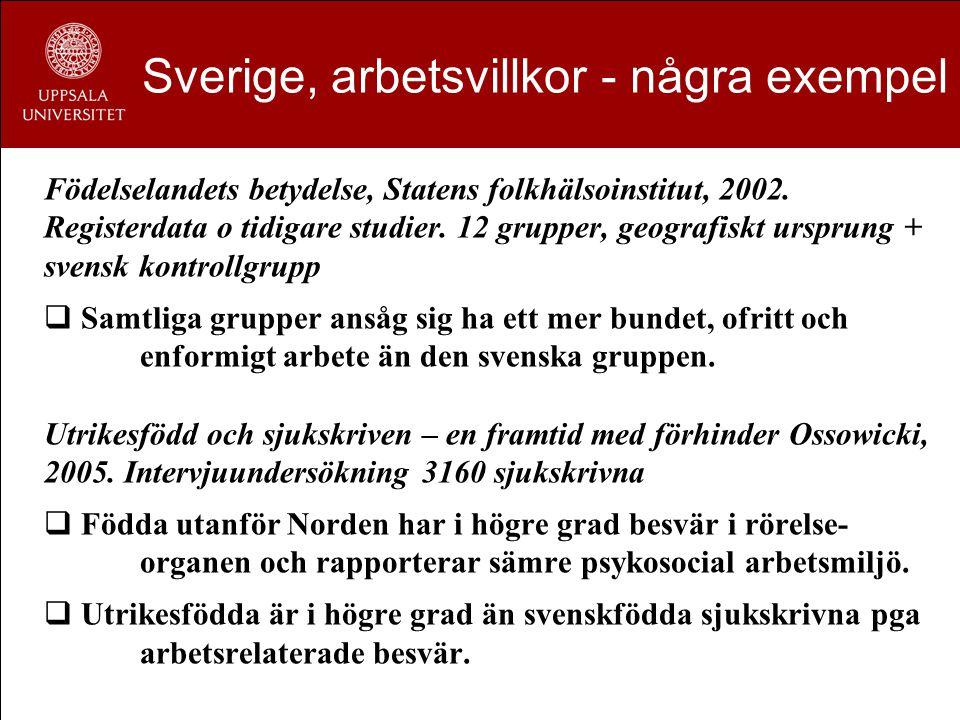 Sverige, arbetsvillkor - några exempel Födelselandets betydelse, Statens folkhälsoinstitut, 2002. Registerdata o tidigare studier. 12 grupper, geograf