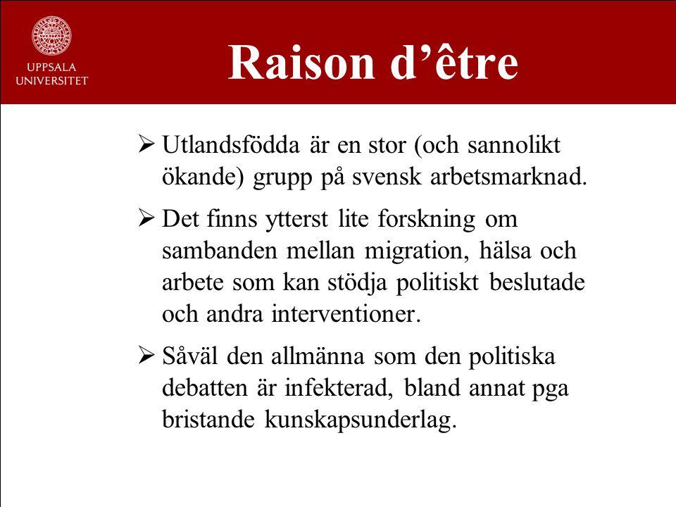 Raison d'être  Utlandsfödda är en stor (och sannolikt ökande) grupp på svensk arbetsmarknad.  Det finns ytterst lite forskning om sambanden mellan m