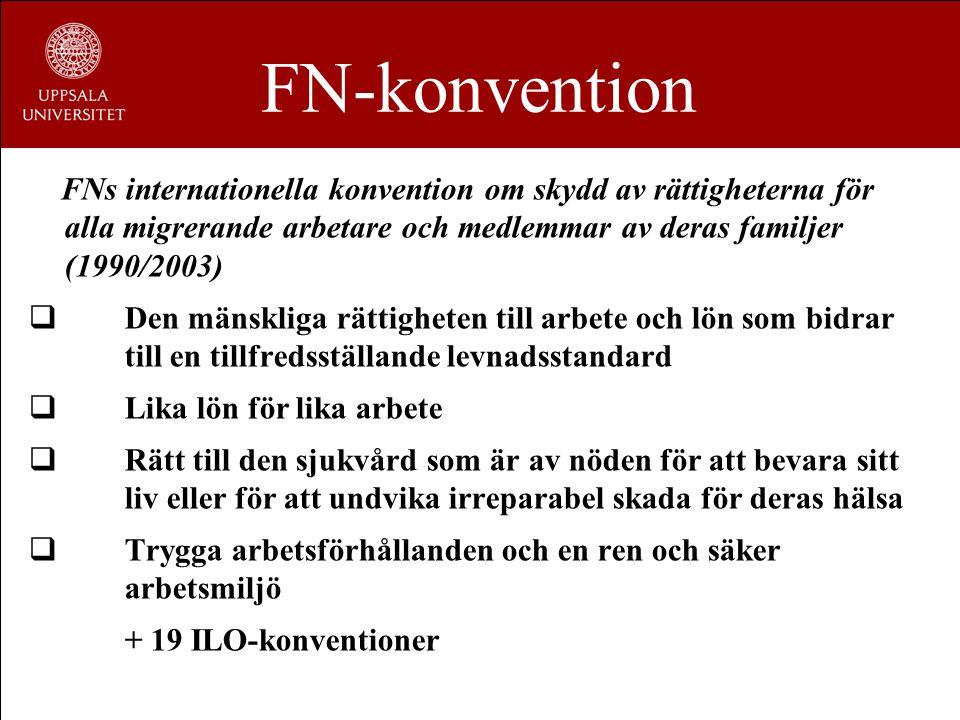 FN-konvention FNs internationella konvention om skydd av rättigheterna för alla migrerande arbetare och medlemmar av deras familjer (1990/2003)  Den