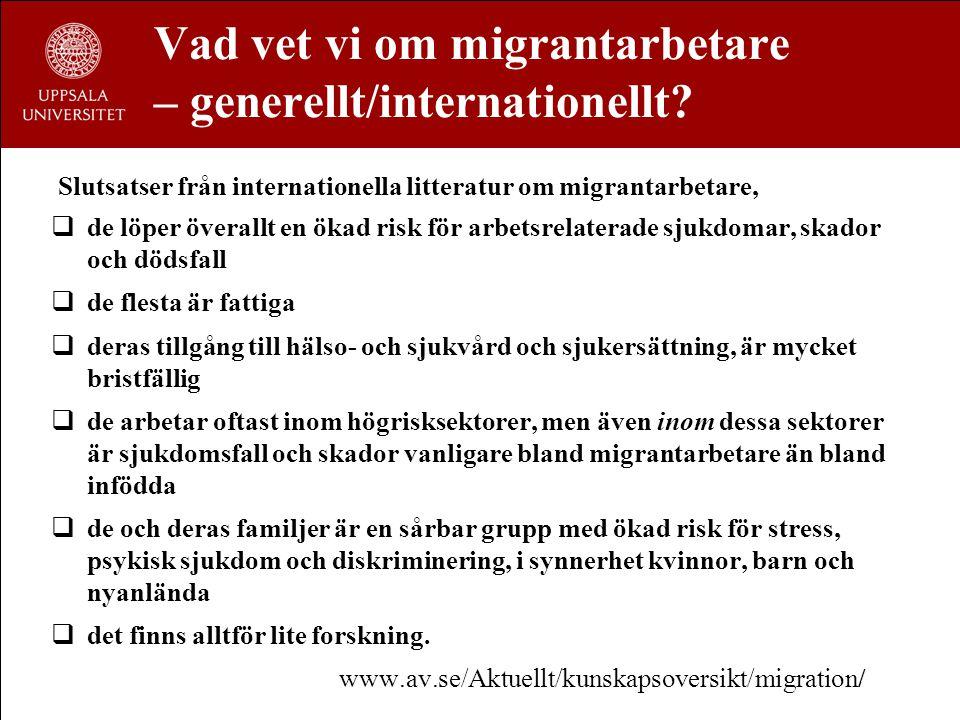 Kunskapsläget - Europa/EU Fyra översiktsstudier: SALTSA x 2 (2001), Dublin Foundation (2007), EU-OSHA (2007)  Få studier gör distinktioner mellan olika kategorier av invandrare  Nästan inga studier innehåller ålder, kön, tid i landet eller socioekonomiska variabler  Nationalitet eller etnicitet registreras inte inom hälso- och sjukvården (utom i Holland, England, Italien och Sverige)  Nästan ingen forskning från Östeuropa  Gamla studier  Arbetsvillkoren för odokumenterade invandrare kräver större uppmärksamhet