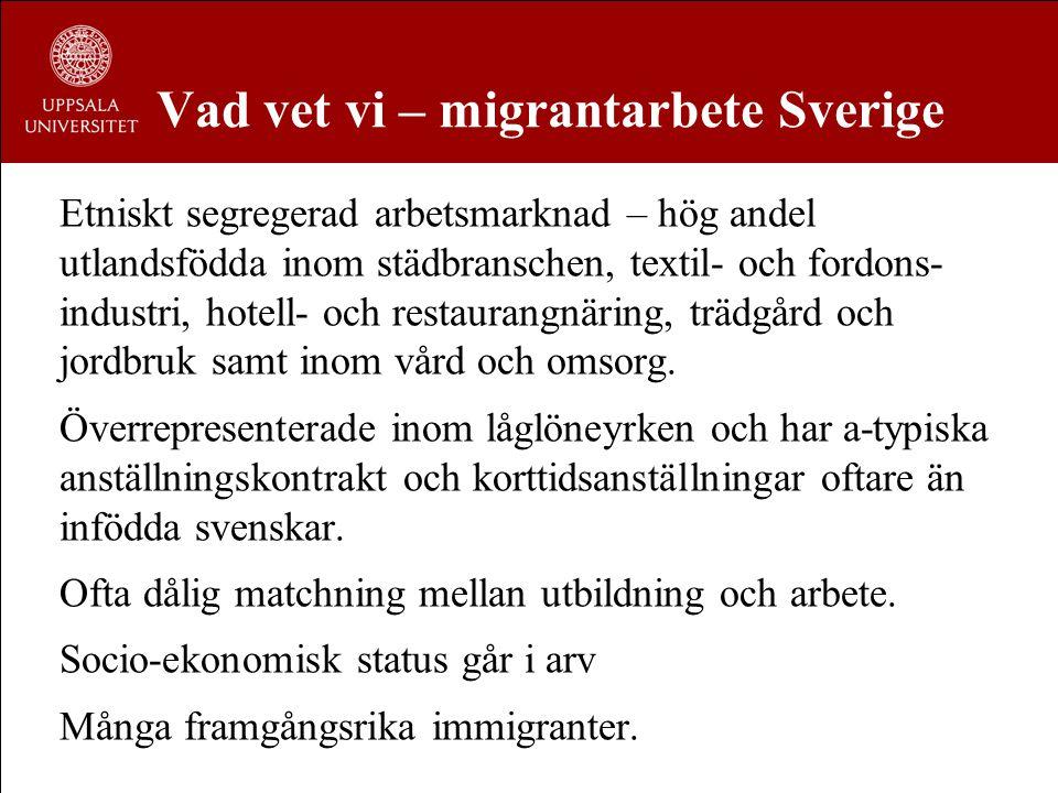 Vad vet vi – migrantarbete Sverige Etniskt segregerad arbetsmarknad – hög andel utlandsfödda inom städbranschen, textil- och fordons- industri, hotell