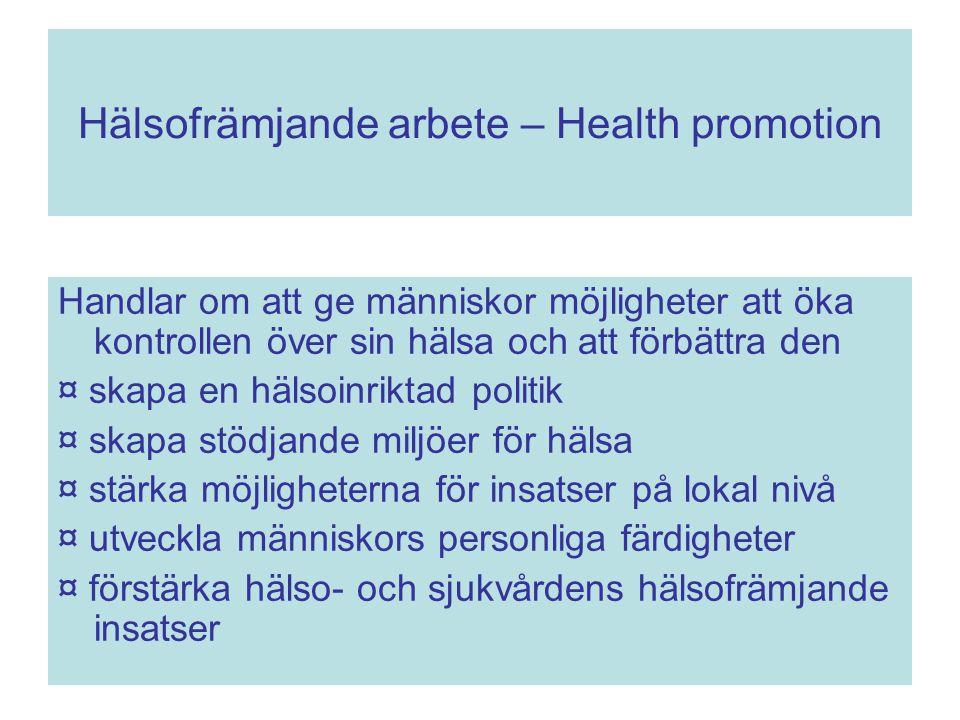 Hälsofrämjande arbete – Health promotion Handlar om att ge människor möjligheter att öka kontrollen över sin hälsa och att förbättra den ¤ skapa en hä