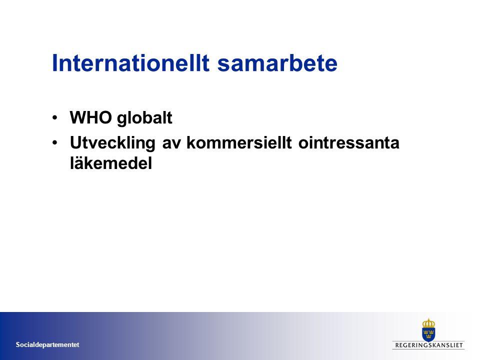 Socialdepartementet Internationellt samarbete •WHO globalt •Utveckling av kommersiellt ointressanta läkemedel