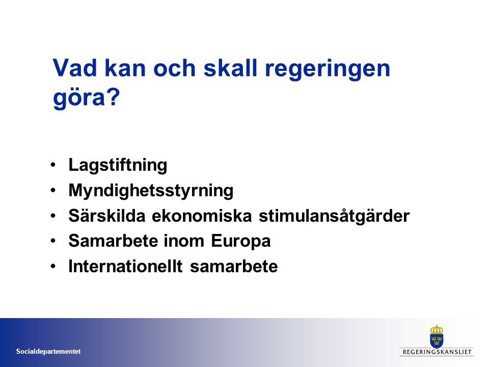 Socialdepartementet Vad kan och skall regeringen göra? •Lagstiftning •Myndighetsstyrning •Särskilda ekonomiska stimulansåtgärder •Samarbete inom Europ