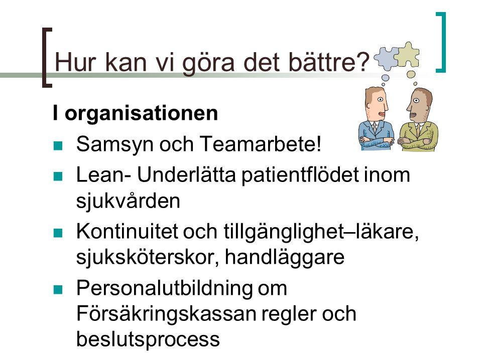 Hur kan vi göra det bättre? I organisationen  Samsyn och Teamarbete!  Lean- Underlätta patientflödet inom sjukvården  Kontinuitet och tillgänglighe