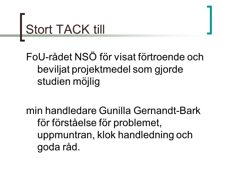 Stort TACK till FoU-rådet NSÖ för visat förtroende och beviljat projektmedel som gjorde studien möjlig min handledare Gunilla Gernandt-Bark för förstå