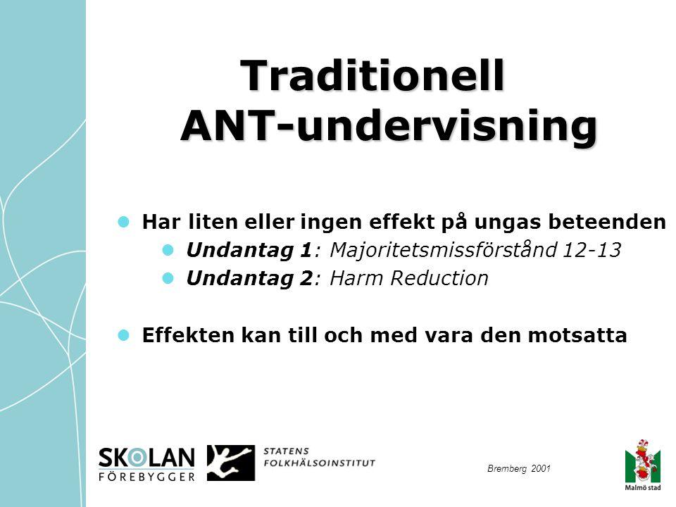 Traditionell ANT-undervisning  Har liten eller ingen effekt på ungas beteenden  Undantag 1: Majoritetsmissförstånd 12-13  Undantag 2: Harm Reductio