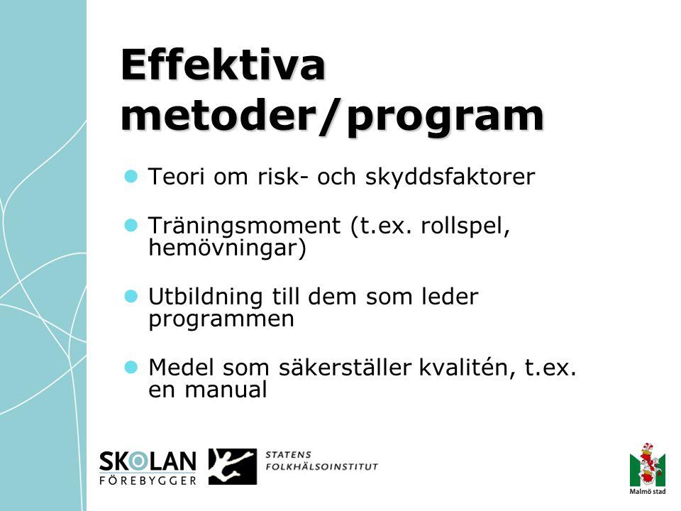 Effektiva metoder/program  Teori om risk- och skyddsfaktorer  Träningsmoment (t.ex. rollspel, hemövningar)  Utbildning till dem som leder programme