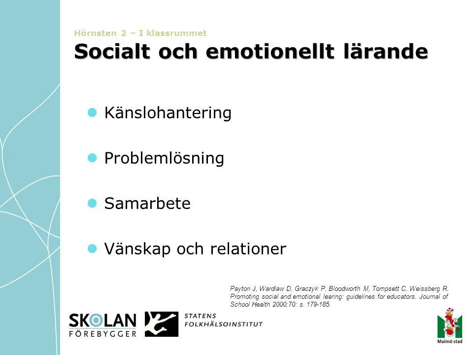 Socialt och emotionellt lärande Hörnsten 2 – I klassrummet Socialt och emotionellt lärande  Känslohantering  Problemlösning  Samarbete  Vänskap oc