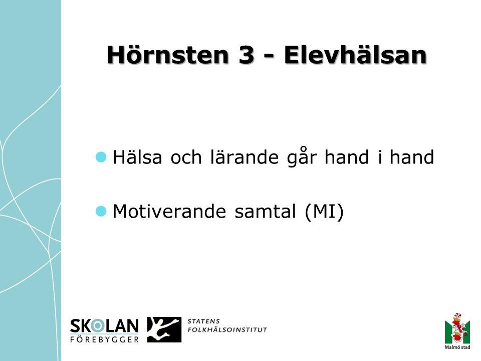 Hörnsten 3 - Elevhälsan  Hälsa och lärande går hand i hand  Motiverande samtal (MI)
