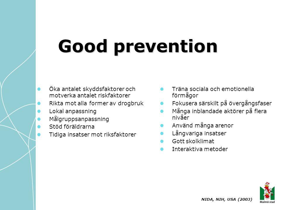 Good prevention  Öka antalet skyddsfaktorer och motverka antalet riskfaktorer  Rikta mot alla former av drogbruk  Lokal anpassning  Målgruppsanpas