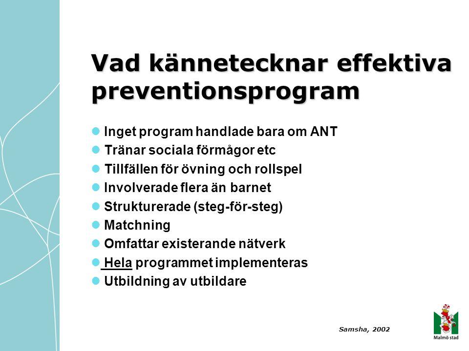  Inget program handlade bara om ANT  Tränar sociala förmågor etc  Tillfällen för övning och rollspel  Involverade flera än barnet  Strukturerade
