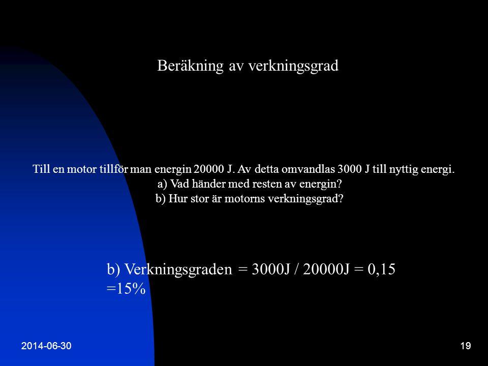 2014-06-3019 Till en motor tillför man energin 20000 J. Av detta omvandlas 3000 J till nyttig energi. a) Vad händer med resten av energin? b) Hur stor