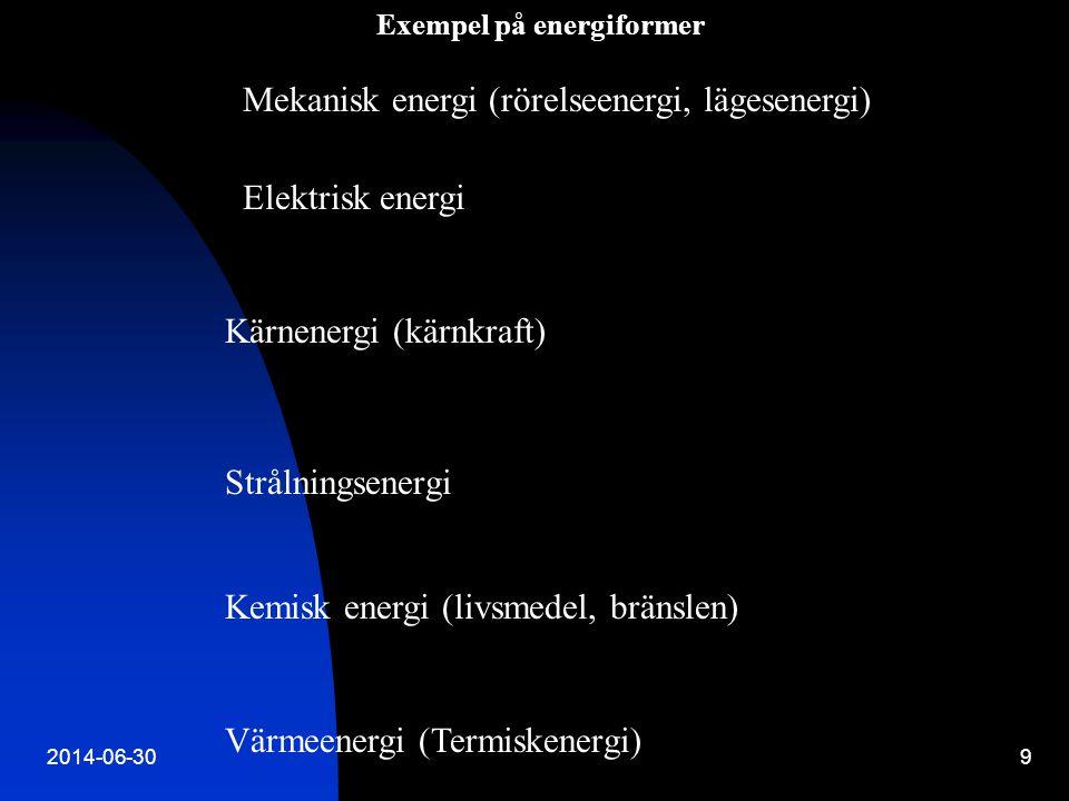 9 Exempel på energiformer Mekanisk energi (rörelseenergi, lägesenergi) Elektrisk energi Kärnenergi (kärnkraft) Strålningsenergi Kemisk energi (livsmed