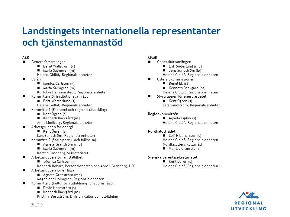 BILD 9 Landstingets internationella representanter och tjänstemannastöd AER  Generalförsamlingen  Bernt Wallström (v)  Maria Salmgren (m) Helena Gi