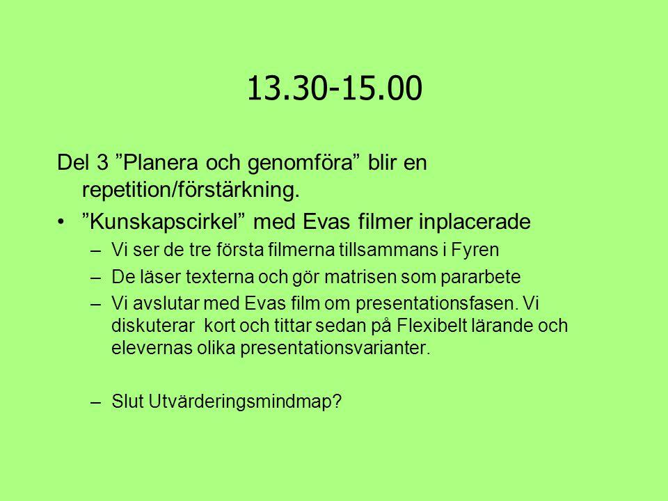 """13.30-15.00 Del 3 """"Planera och genomföra"""" blir en repetition/förstärkning. •""""Kunskapscirkel"""" med Evas filmer inplacerade –Vi ser de tre första filmern"""